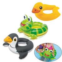 ingrosso animali d'acqua gonfiabili-Portable Summer Baby Kids Sicurezza animale Nuoto Anello gonfiabile Swim Float Water Fun Pool Toys Anello per nuoto Sedile per barche Sport acquatici