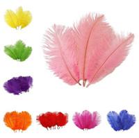 cores da pena da avestruz venda por atacado-New 10 cores decoração de casamento Avestruz Pena Partido Desktop decoração penas DIY acessório pena 25-30 cm T3I0412