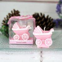 bebek mavisi mumları toptan satış-Pembe Mavi Bebek Arabası Mum Düğün Doğum eşyalar Hediyeler Bebek Duş Parti Favor için