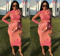 vestidos de fiesta floridos al por mayor-Vestidos de cóctel africanos 2018 Mangas largas Apliques de encaje Longitud de té corta Arco Flores Fiesta de graduación Vestido de fiesta Vestidos de fiesta formal