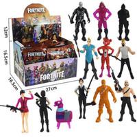juguetes de los niños al por mayor-12 juguetes Fortnite Plastic Doll para juguetes 2018 Nuevos niños 15cm 4.5 'Juego de dibujos animados Fortnite llama esqueleto Papel Figura Juguete Incluyendo empaque minorista