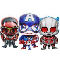 decoraciones de globos al por mayor-Pequeños niños fiesta de cumpleaños decoración Ballon Idea Avengers Mylar globos juguete superhéroe Capitán América superman globo de tema de dibujos animados
