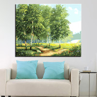 colorear la pared al por mayor-Pintura al óleo por números DIY Digit Kits para colorear Forest Road en la lona Home Decor Wall Abstract Tree Scenery Pictures Framework