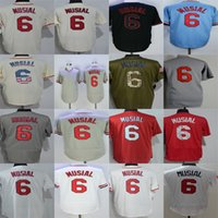 Wholesale factory st - Factory Outlet Mens Womens Kids Toddlers St. Louis 6 Stan Musial Beige Black Blue Flag Green Grey Red White Cheap Stitched Baseball Jerseys