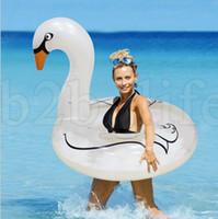 jogos de natação venda por atacado-110 CM Cisne Piscina Brinquedos Infláveis Cisne Pérola Pérola Branca Flutuante Row Swim Anel de Água Da Praia Jogo Do Partido Brinquedos LJJK1030