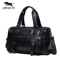 Wholesale man leather handbag black big - CROSS OX Autumn New Arrival Mens Handbag Big Capacity Travel Bag High Quality PU Leather Luggage Bags 14 Inch Laptop Bag HB572M