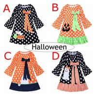 Wholesale fall girl clothes resale online - INS Halloween Pumpkins Girls Dresses Children Perform Show Princess Long Dress Dots Striped Cute Bow Skirts For Kids Fall Clothing Years