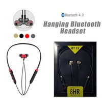 Wholesale sports power necklace resale online - Wireless Earphones Sport Magnetic Extra Power Earbuds necklace earhods In ear Bluetooth Headphones BT31 For iphone XR XS MAX Samsung S9 Plus