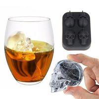 bierwürfel großhandel-4 Löcher 3D Knochen Schädel Eisform Silikon Eiswürfelschale Kuchen Schokoladenform Maker Für Trinken Bier Whisky Eiswürfel Bar Zubehör Werkzeuge