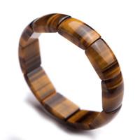 pulseras de cristal genuino al por mayor-Genuino Natural Amarillo Ojo de Tigre Gemas Pulseras Mujeres Hombres Stretch Crystal Rectangle Bead Bracelet 23 * 15mm