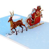 ano novo 3d feito à mão venda por atacado-Carro de veado de Natal 3D cartão de Natal tridimensional desejos o ano novo cartão artesanal presente criativo