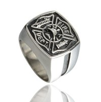 Wholesale Wholesale Firefighter Gifts - Fashion Stainless Steel Red Line Firefighter Ring For Man Personality Jewelry Wholesale Factory Price Never Fade