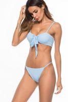 bikinis super push up großhandel-2018 Sexy Bikini Zweiteilige Badeanzüge Spaghettibügel Bikini Set Badebekleidung Niedrige Taille Solide Push up Strand Badeanzug versuchung super