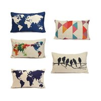 Wholesale map decorations - 30*50cm line throw flax pillow case decoration cushion pillow cover dark blue world map printed pillow cases