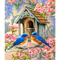 tierkreuzkarten großhandel-Vogel Diamant Malerei 5D DIY Diamant Stickerei Weihnachtskarten Kreuzstich Strass mosaik weihnachtsdekoration tiermalerei