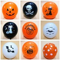 Wholesale pumpkin toys supplies online - Halloween Balloons Latex Pumpkin inch Pumpkin bat ghost halloween Orange Black balloons supplies Party Decor props HHJ365