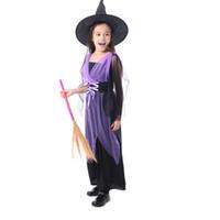 lila kostüm großhandel-Fancy Masquerade Party Cosplay lange lila Kleid Hexe Kinder Kleidung Halloween Kostüm für Kinder Mädchen mit Hut