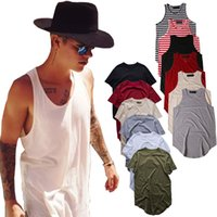 Wholesale men plain shirts - Men's Plain T-Shirt Justin Bieber Sleeveless Hipster Hip Hop Long Tees Curved Hem Skateboard Tank Top Men Striped Tee Shirts Singlet