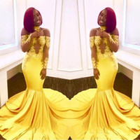Wholesale sexy girl pipe for sale - Group buy Newest Sexy Yellow Black Girls Mermaid Prom Dresses Lace Long Sleeves Backless Satin Floor Length Formal Party Wear Evening Gowns Custom