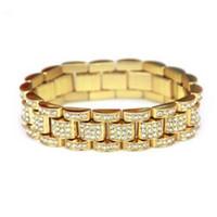 пасхальные часы оптовых-Хип-хоп полный AAA CZ камень проложить Bling оттаявшим рэппер браслет золотой серебряный цвет смотреть Band Link Chain браслеты для мужчин ювелирные изделия