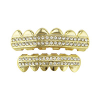 Wholesale gold top custom online - Hiphop grillzs Two flat white Rhinestone Tooth Grills sets or Single Cap Top Bottom Grill for Halloween Jewelry Gifts Bling Custom Teeth