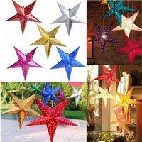 linternas de papel de colores al por mayor-30 cm 12 pulgadas estrella brillante Lámparas de pantalla de papel Flor Decoración Del Partido Artesanía Para la Decoración de La Boda colorido