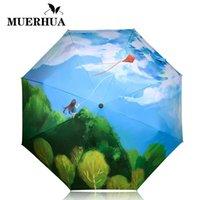 équipement de pluie de mode achat en gros de-MUERHUA Femmes Mode Cerf-volant Peinture À L'huile Parapluie Anti-UV Parapluie Petit 3 Pliant Ensoleillé / Rain Gear Parasol Paraguas