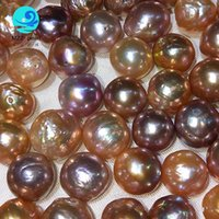 Wholesale Chinese Love Bracelet - wholesale bright luster large size 13x15mm ripple chinese edison freshwater pearls full drilled for making necklace and bracelet