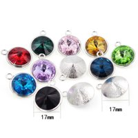 Wholesale heart shaped charms for online - 17mm Glass Charms Jan Dec Round Heart Star Shaped Crystal Birthstone for Accessory DIY Floating Locket