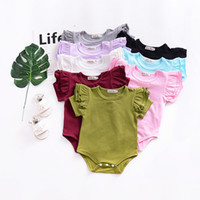 Wholesale cute onesies - Hotsale Ins Baby girl Bodysuit Onesies Rompers Flutter Short sleeve Cute solid Romper All-matched Pure cotton Summer B11
