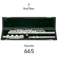 электронная флейта оптовых-Pearl Quantz PF-665 Flute 17 Ключей Открытые Отверстия Посеребренная Поверхность Купроникелевая Флейта Бренд Музыкальный Инструмент С E Key Case