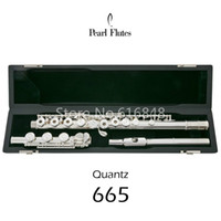 musikalische perlen groihandel-Perle Quantz PF-665 17 Keys Offene Löcher Flöte-Silber überzogene Oberfläche Kupfer-Nickel-Flöte C Tune E Key Flute Musikinstrument mit Fall