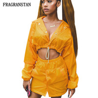 damen gelb daunenjacke großhandel-Weibliche Frühling Sommer Neue Umlegekragen Jacke Frauen Mode Sexy Gelb Kurz Crop Top Damen Casual Persönlichkeit Mantel JQ633