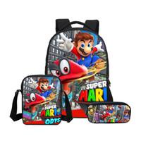 mochilas escolares mario al por mayor-Hynes Eagle 3Pc / Set mochila escolar para niños niñas de dibujos animados de moda Super Mario impresión mochila escolar niños mochila informal hombro