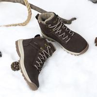 botas marrones para el invierno al por mayor-2018 Mens botas de tobillo de calidad superior zapatos de trabajo al aire libre senderismo botas de nieve para hombres al aire libre WorkSafet botas calientes de color marrón negro EU39-46