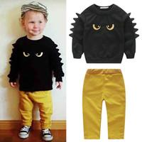 çocuklar için sarı takım elbisesi toptan satış-2018 Çocuk boys giyim seti Sonbahar Kış Erkek Bebek Sevimli Giyim 2 adet suit Karikatür siyah gözler Sarı eğilim Pantolon ...