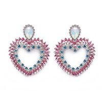 cristal de opala strass venda por atacado-Rongho marca opala cristal grande coração brincos para mulheres hiphop brincos moda jóias de strass coração pingente brincos