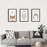 modernes art triptychon großhandel-Triptychon Nordic Minimalist Modern Dekorative Leinwand Malerei Kunst HD Print Poster Tier Wandmalereien Wohnzimmer Dekoration