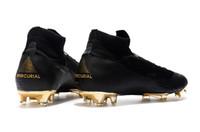 cr7 черные туфли оптовых-2018 горячий продавать оригинальный Mercurial Superfly черное золото CR7 FG футбольные бутсы высокое качество футбольные бутсы высокое качество