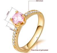 gute diamantringe großhandel-18 Karat Gold Rosa Kristall Diamant Sweety Damen Ring, elegante Solitaire Ring für Bridemaids, Freundschaft schöne Ringe Schmuck für gute Schwestern