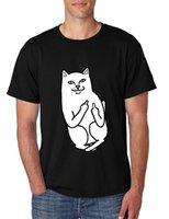 dedo de la camiseta de los hombres al por mayor-Nueva camiseta corta de los hombres de la marca de ropa de moda divertido dedo medio gato impreso camiseta hombres camiseta de algodón de fitness para jóvenes