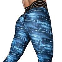 nachgemachte denim-leggings großhandel-Frauen Hohe Taille Yoga Imitation Denim Fitness Leggings Laufen Gym Stretch Sporthosen Hosen Push Hips Sport Leggings