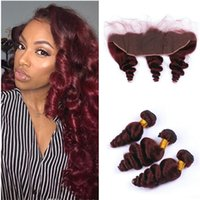 Wholesale human hair extentions for sale - Group buy 99J Burgundy Loose Deep Wave Human Hair Wefts Bundles With x4 Lace Frontal Brazilian Hair Extentions Red Wine Color