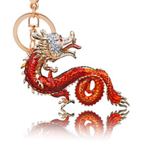Wholesale metal dragon keychain for sale - Group buy Crystal Dragon Luxury Keychain Fashion Trend Exquisite Metal Ruby Designer Key Holder For Man Lady Gift ch UU