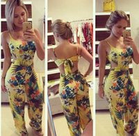 Discount long loose summer pants - women's jumpsuits yellow printed casual spaghetti strap loose jumpsuits long length flower pattern jumpsuits rompers siamese pants