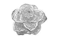 Wholesale valentine ring rose online - cheap Low Price Hot Fashion Jewelry Valentine Rose Ring silver Size can adjust
