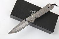 chris reeve cuchillos al por mayor-Envío gratis Chris Reeve Sebenza 21 Cuchillos de Damasco hoja de aleación de titanio mango táctico engranaje edc herramienta regalo para hombre