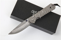facas de damasco venda por atacado-Frete grátis Chris Reeve Sebenza 21 facas pequenas damasco lâmina liga de titânio lidar com engrenagem tática edc ferramenta de presente para o homem