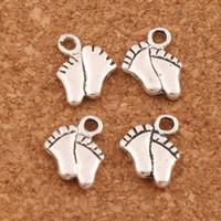 pés pingentes charme venda por atacado-300 pçs / lote Pequeno Bebê Pés Spacer Charme Beads Pingentes De Prata Antigo Liga Artesanal Jóias DIY 8.5x5.4mm L451