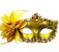 Wholesale ball masks sticks - Venetian Masquerade Ball Mask Wedding Party Fancy Dress Eyemask On Stick Halloween Masks For Adults Lily Flower Lace Feather Stick Mask